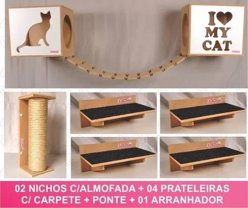 Kit nicho gatos 2+4 prat+ ponte+ arranhador sisal-cj 10pcs