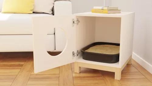 Móvel banheiro para gatos - casa caixa de areia mdf branco