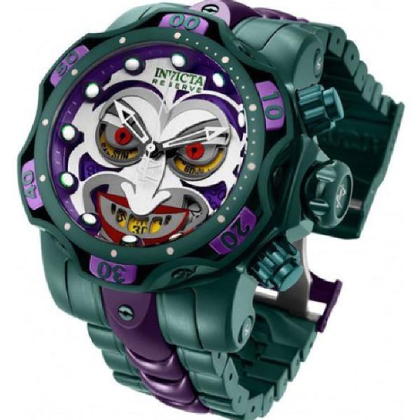 Relógio invicta coringa joker dc comics todo aço