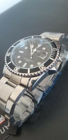 Relógio quartzo analógico de aço inoxidável - modelo