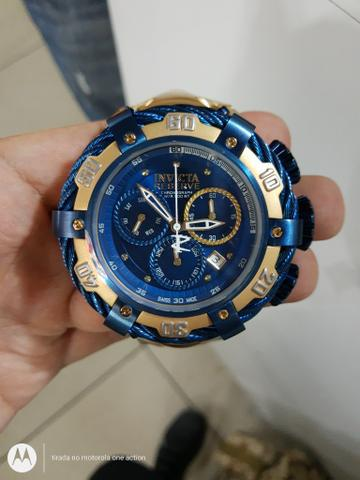 Relógio invicta thunderbolt dourado com azul última peça