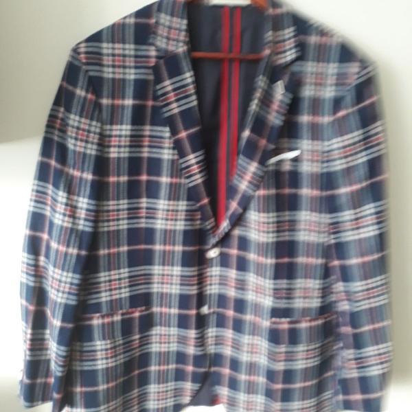 blazer xadrez azul/vermelho Zara