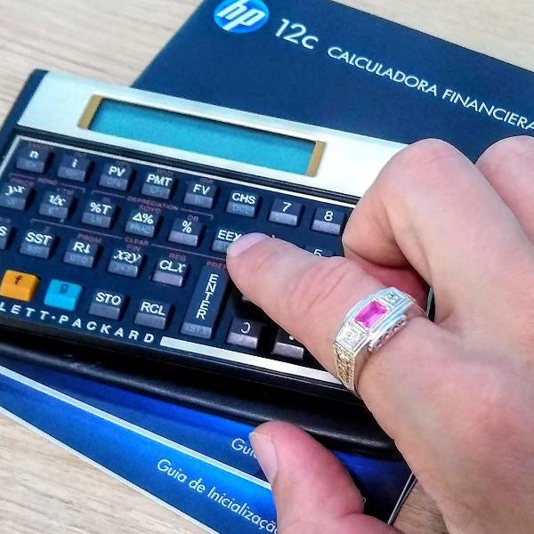 Calculadora financeira hp12c gold+ anel prata turmalina rosa