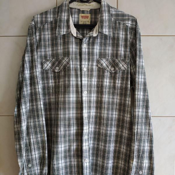 Camisa levis xadrez verde/branca