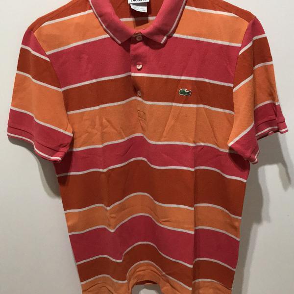 Camisa polo lacoste tam 4 masculina listrada laranja e coral