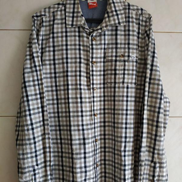 Camisa puma shirt bittersweet xadrez cinza