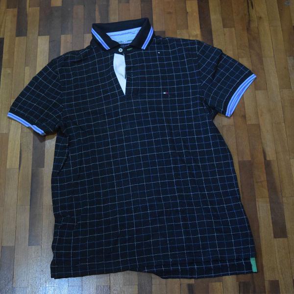 Camiseta polo tommy hilfiger preto geométrico