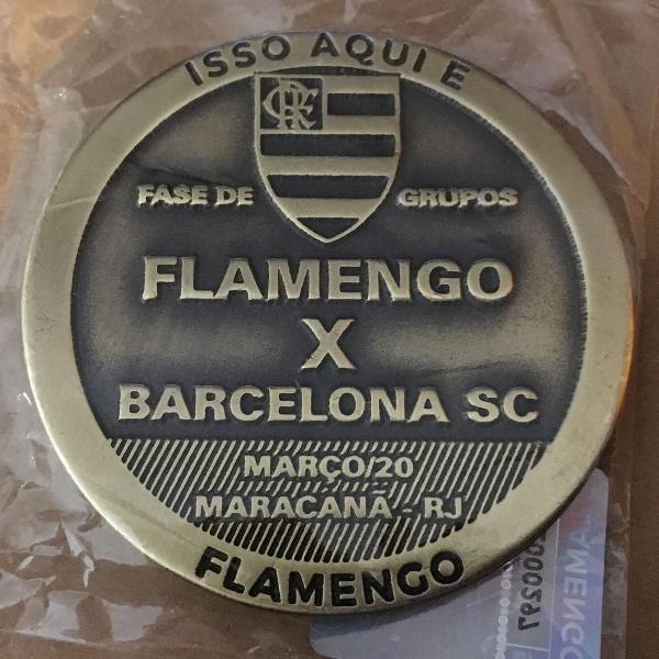 Moeda medalha flamengo x barcelona libertadores