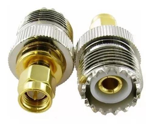 2 adaptador conector uhf fêmea so-239 x sma macho ht