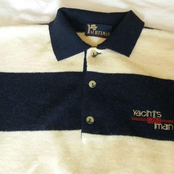 Blusa de lã yachtsman vintage anos 90 listrada