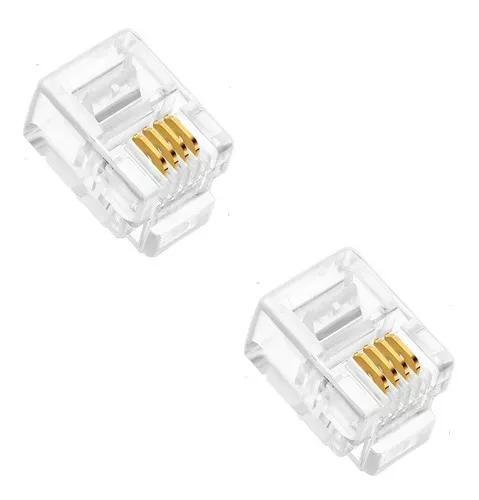 Conector rj11 4 vias 6x4 6p4c plug p/ telefone c/ 200 peças