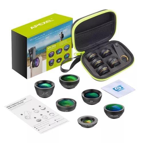 Kit lentes 6x1 p/ smartphone celular fisheye macro wide
