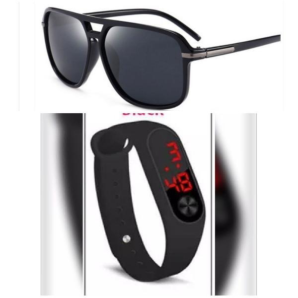 Kit com óculos e relógio esportivo unissex
