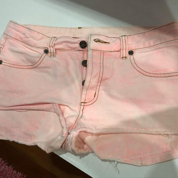 Bermuda jeans rosa bebê