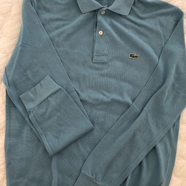 Blusa manga comprida azul lacoste