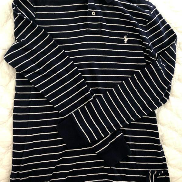 Blusa manga comprida azul-marinho ralph lauren