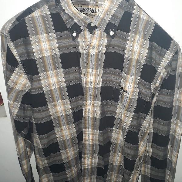 Casual, camisa xadrez de manga longa