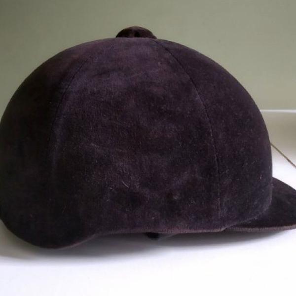 Capacete hipismo equitação veludo preto fouganza 59 cm 7