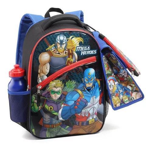 Kit mochila escolar para criança infantil mega heroes
