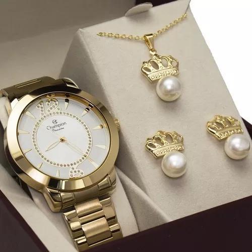 Relógio champion dourado f