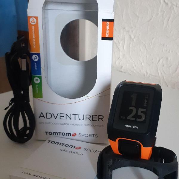 Relógio gps c/ monitor cardíaco no pulso tomtom adventurer