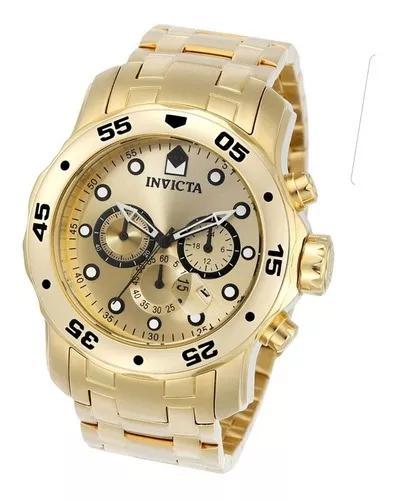 Relógio invicta promoção 0074 pro diver dourado b. ouro