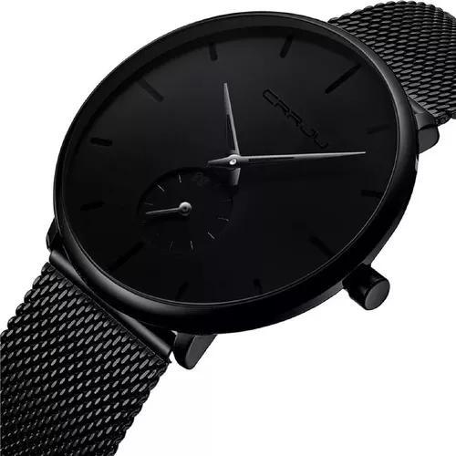 Relógio masculino com pulseira preta a prova d'água crrju