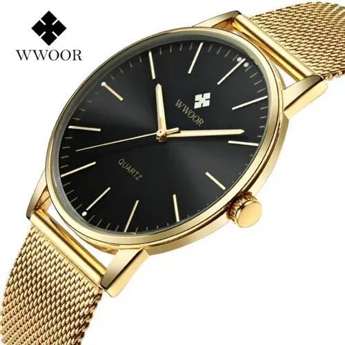 Relógio masculino social luxo wwoor 8832 pulseira aço