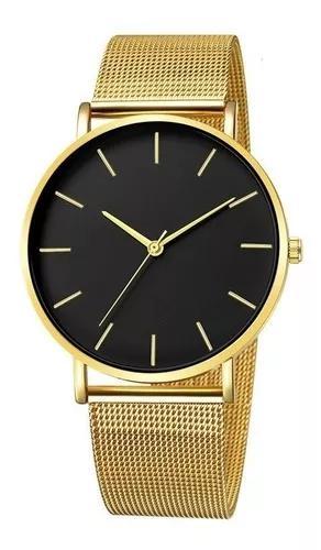 Relógio ultra fino slim aço inox ajustável social malha +