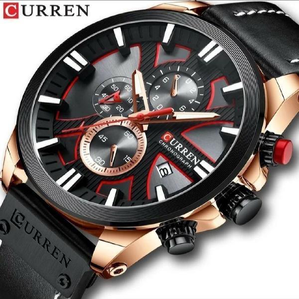 Relógio de luxo curren - original - pulseira de coro -