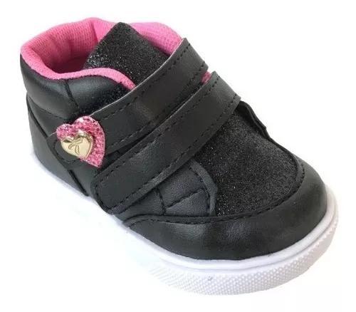 Tênis infantil menina bebê brilho coração preto rosa