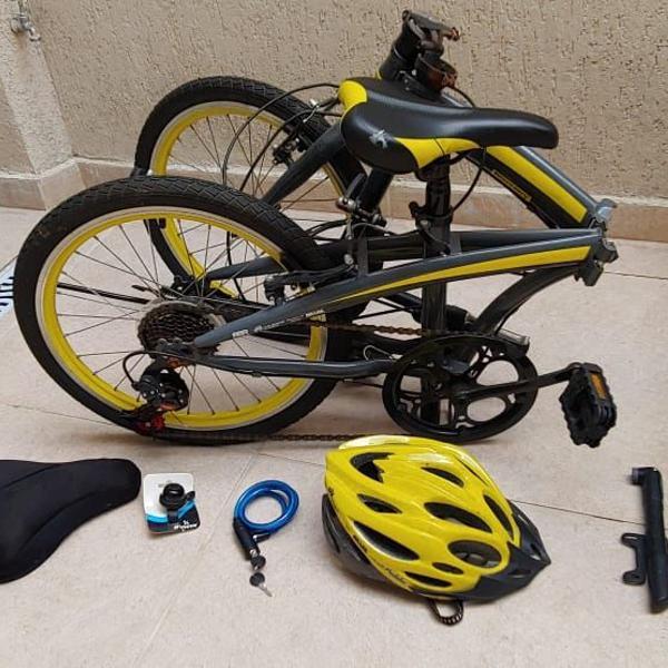 Bicicleta dobrável 7 marchas shimano