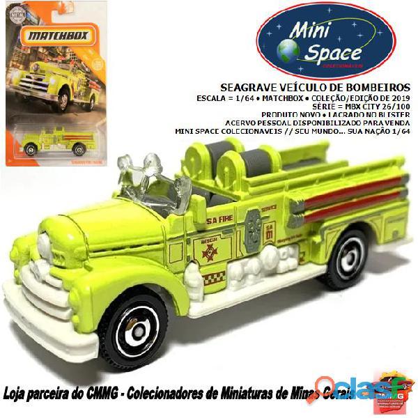 Matchbox seagrave veículo de bombeiros cor amarelo 1/64