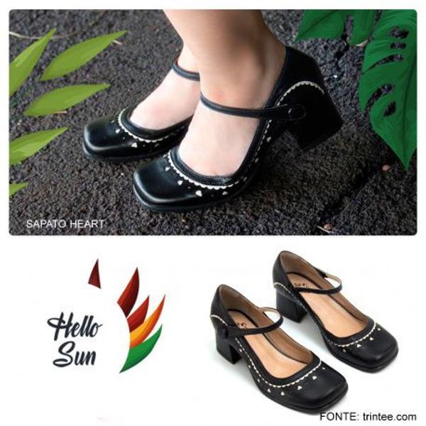 Sapato retrô boneca preto feito à mão