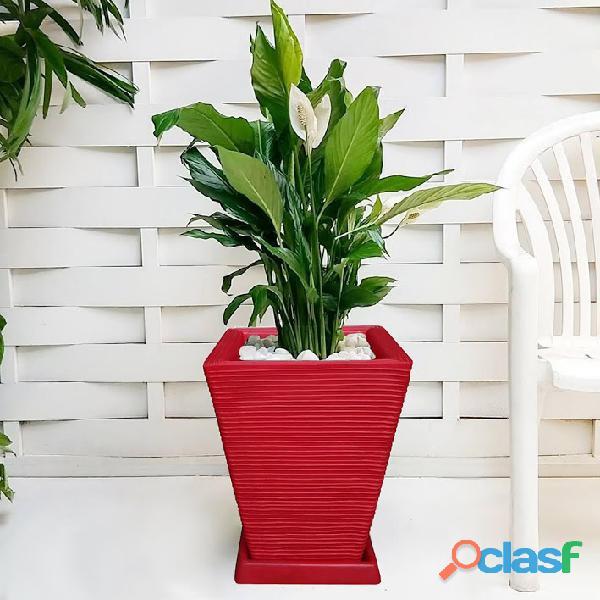 1 Vaso + Prato Polietileno P/ Plantas Flores Jardim Q 45x35 2