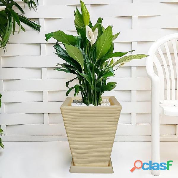 1 Vaso + Prato Polietileno P/ Plantas Flores Jardim Q 45x35 3