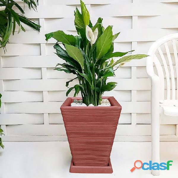 1 Vaso + Prato Polietileno P/ Plantas Flores Jardim Q 45x35 4