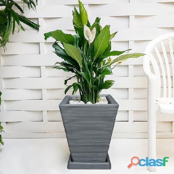 1 Vaso + Prato Polietileno P/ Plantas Flores Jardim Q 45x35 6