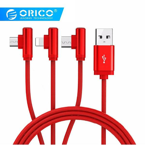Cabo usb 3 em 1 micro usb, tipo c, iphone