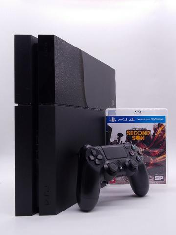 Play station 4 fat 500gb jet black + infamous second son