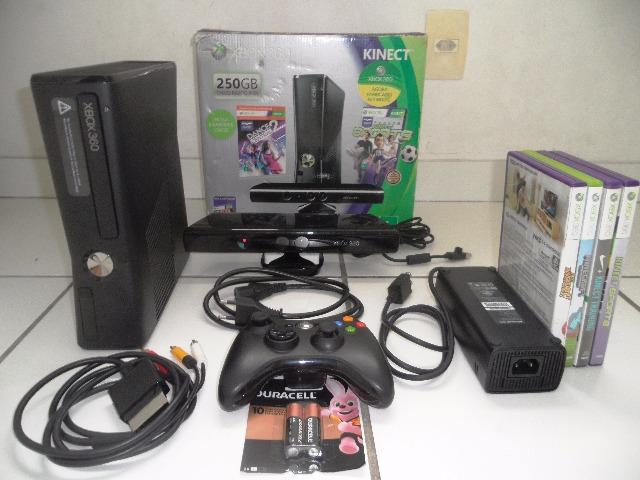 Xbox 360 250gb kinect microsoft c/ controle sem fio e 4
