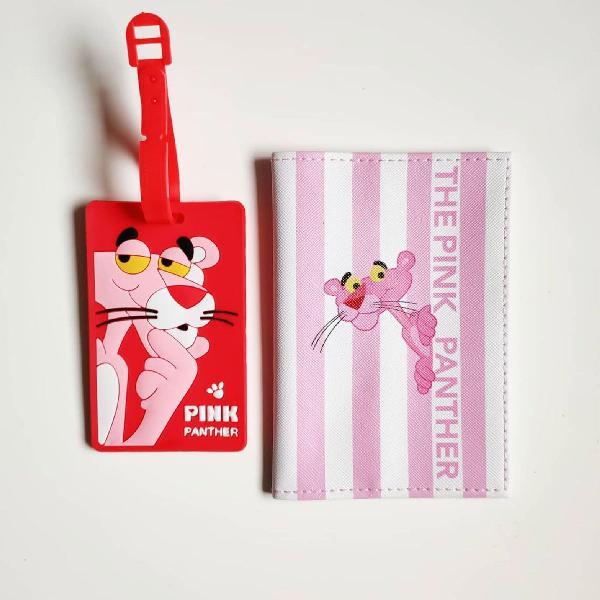 Kit pantera cor de rosa porta passaporte e tag de mala
