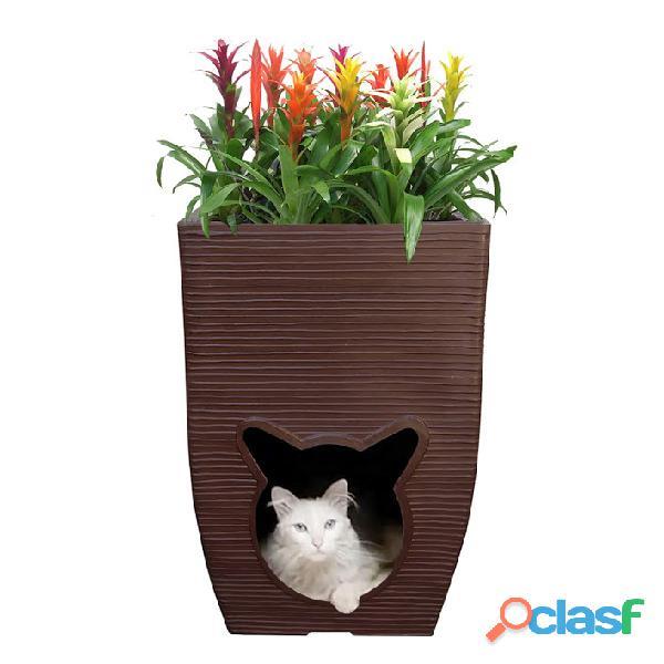 Vaso de planta com cat cave almofada ambiente interno 60x40