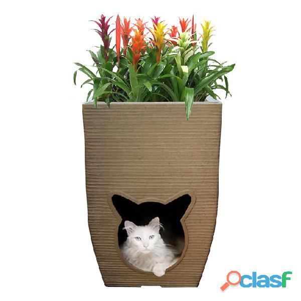 Vaso De Planta com Cat Cave Almofada Ambiente Interno 60x40 1