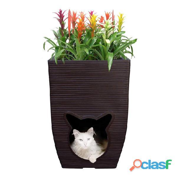 Vaso De Planta com Cat Cave Almofada Ambiente Interno 60x40 2