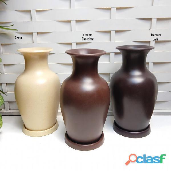 Vaso de planta estilo garrafa egípcio africano barro 70x40