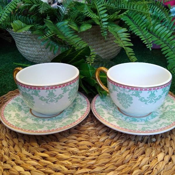 Xícara de chá com pires damask (376)