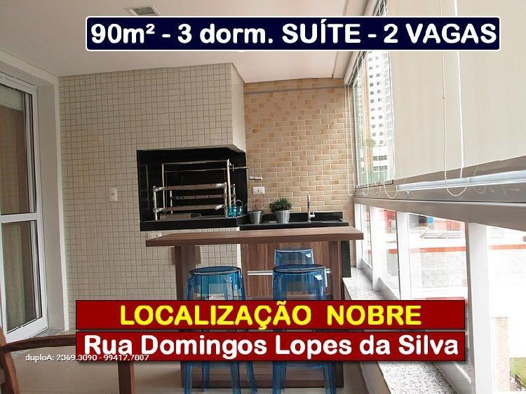 Apto 90m² - 3 ou 2 dormitórios - 2 vagas - terraço