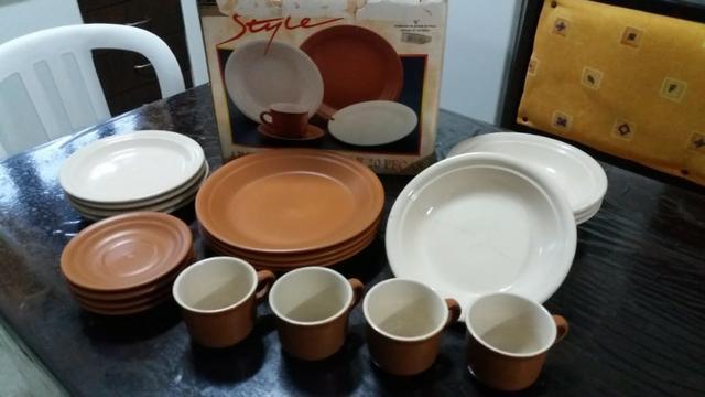 Aparelho de jantar chá 20 peças cerâmica terracota 4