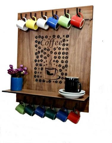 Prateleira grãos de café c/ suporte para 12 xícaras -mdf